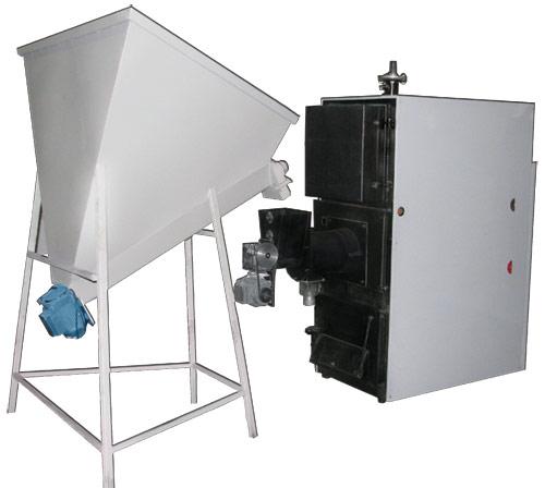 Стальной твердотопливный котел с автоматической загрузкой топлива и регулировкой мощности по температуре теплоносителя