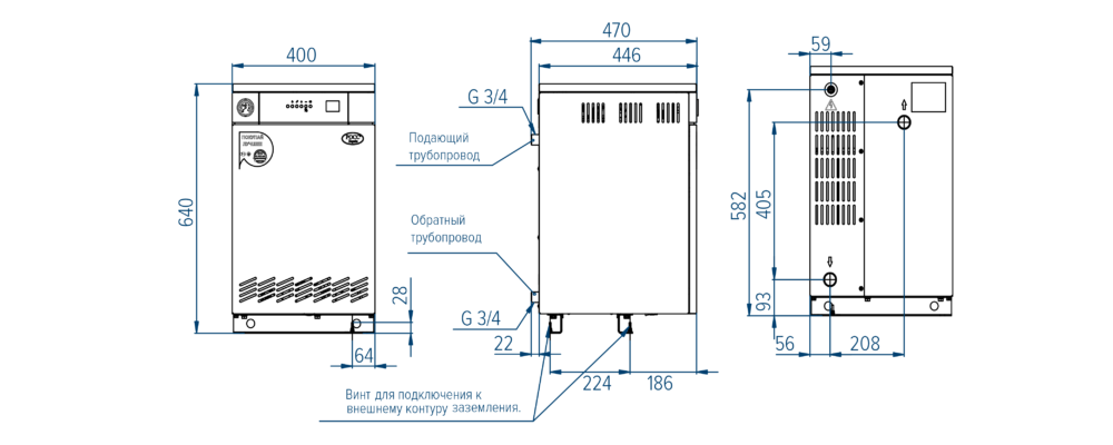 Схема напольного электрического котла РОСС АОЕ-45