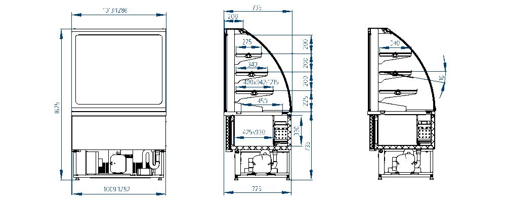 Схема кондитерской витрины РОСС Latina