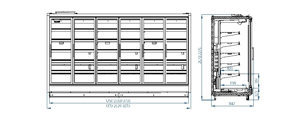 Схема шкафа модульного РОСС Paris