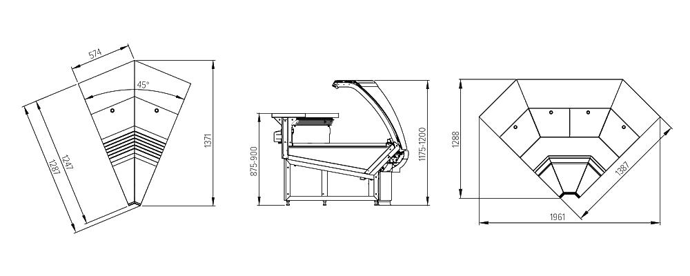 Схема угловых витрина Florenzia