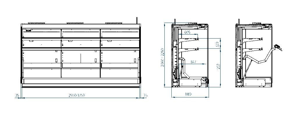 Чертеж паллетной холодильной горки РОСС Ravenna