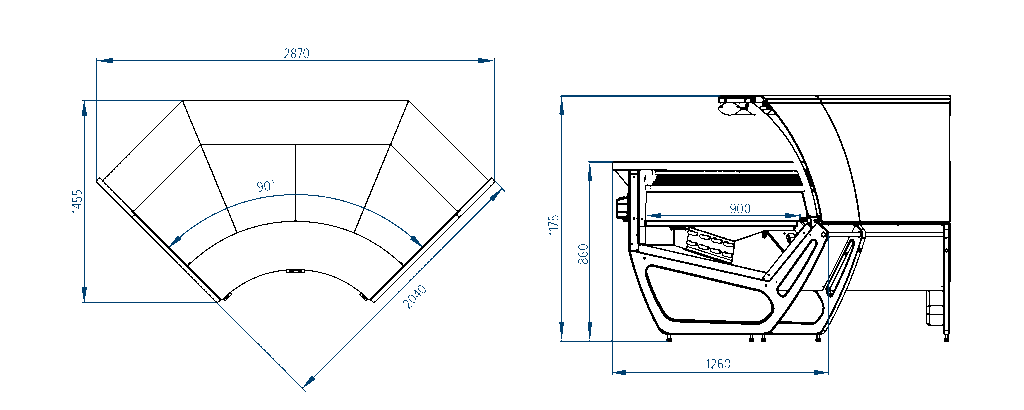 Схема углового внутреннего элемента витрин San Remo