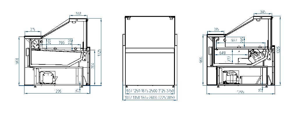 Схема холодильной витрины РОСС Savona Cube