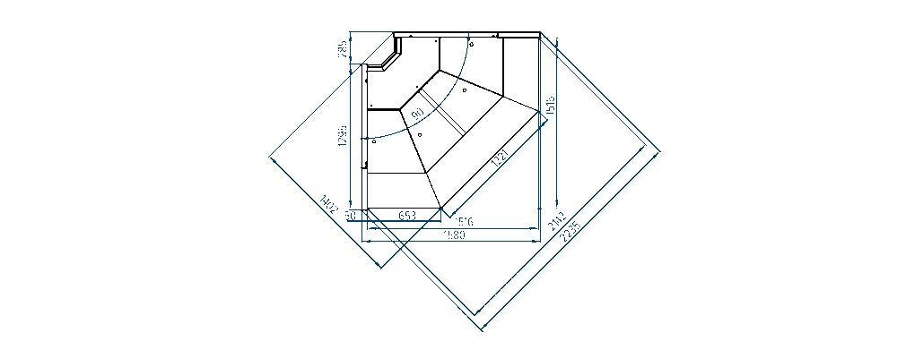Схема внутреннего углового элемента витрин Savona Cube