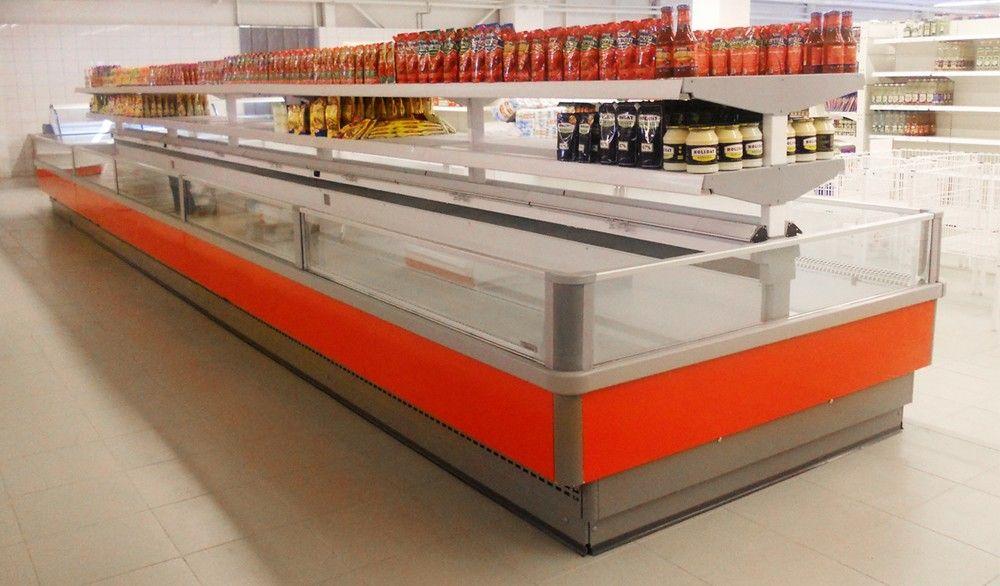 Островная витрина боннет двухобъёмная Venezia в магазине, супермаркете