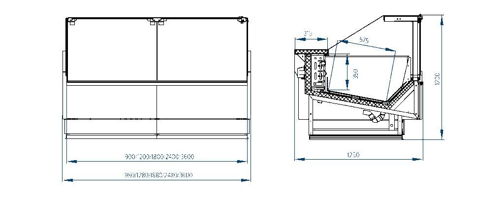 Схема морозильной витрины Verona Cube