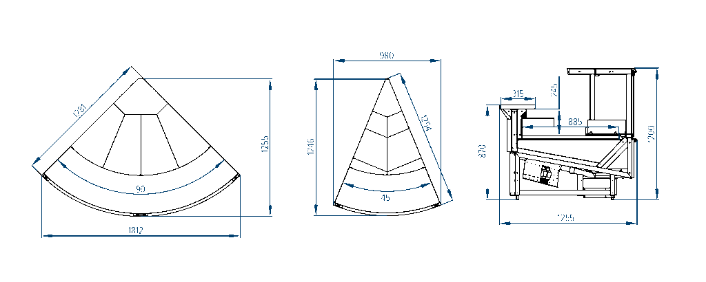 Схема наружных угловых элементов витрин Verona Cube