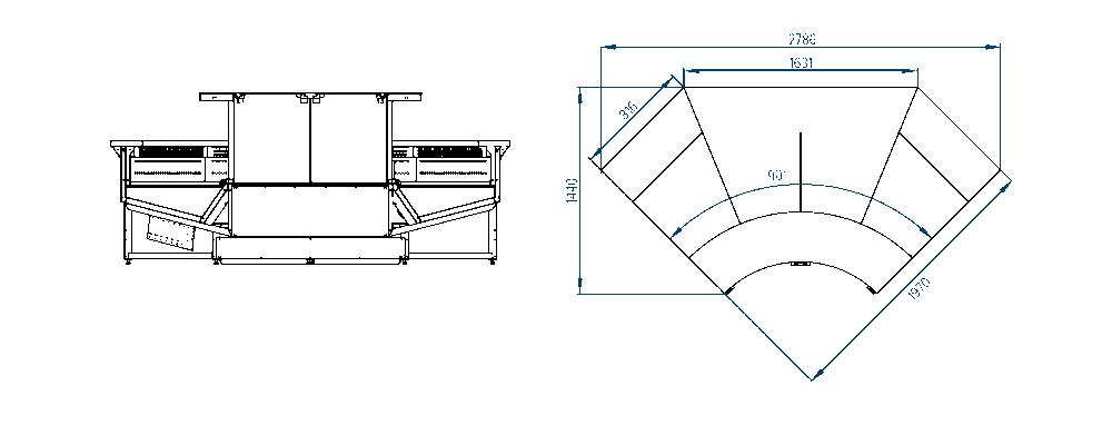 Схема внутреннего углового элемента витрин Verona Cube
